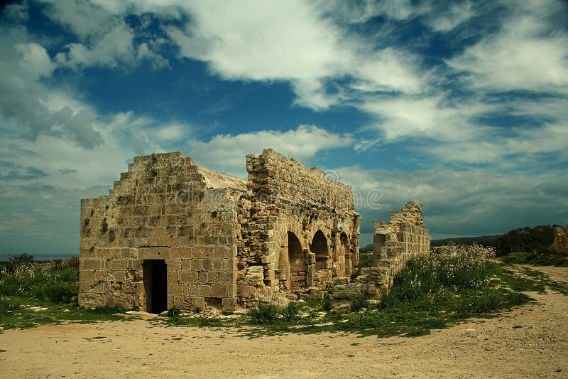 Church Ruins. Greek Orthodox Church ruins on Karpassia peninsula, Northern Cyprus stock image