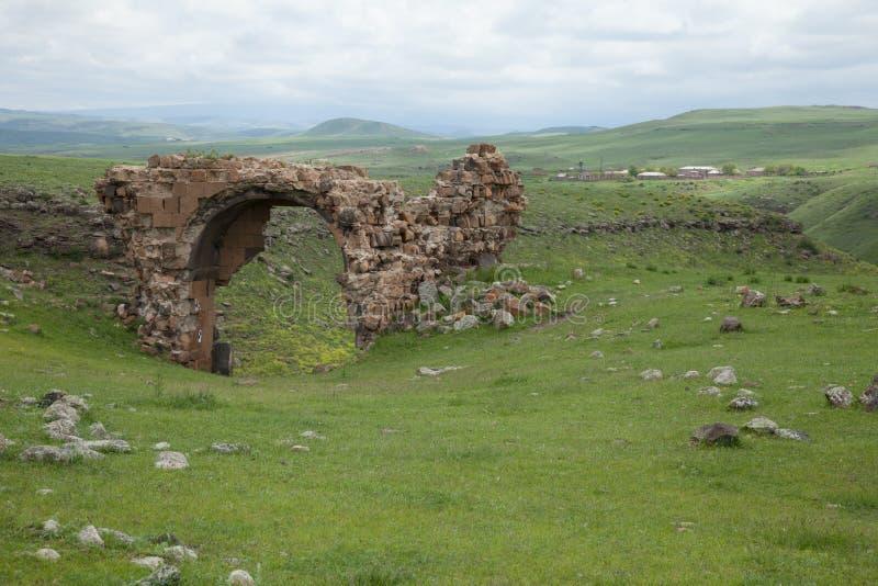 Church ruins, ani, turkey. Ruins of a church in the ancient armenian capital city of ani located near kars, turkey stock photo