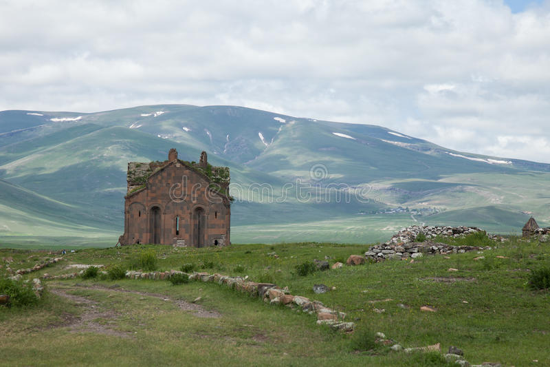 Church ruins, ani, turkey. Ruins of a church in the ancient armenian capital city of ani located near kars, turkey royalty free stock image