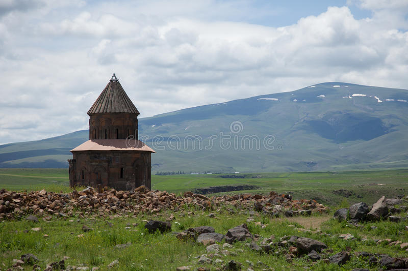 Church ruins, ani, turkey. Ruins of a church in the ancient armenian capital city of ani located near kars, turkey royalty free stock images