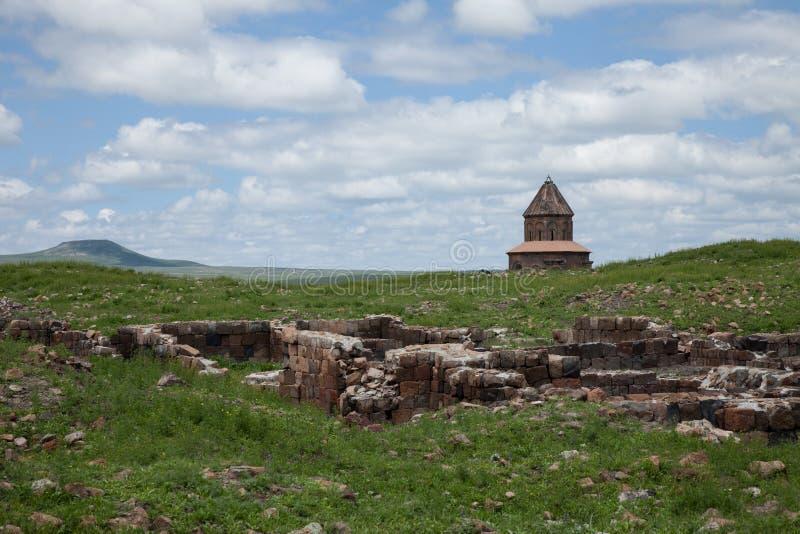 Church ruins, ani, turkey. Ruins of a church in the ancient armenian capital city of ani located near kars, turkey stock photos