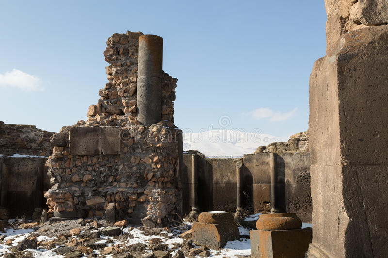 Church ruins in Ani, Turkey. Ruins of a church in the ancient Armenian capital of Ani in northeastern Turkey stock photography