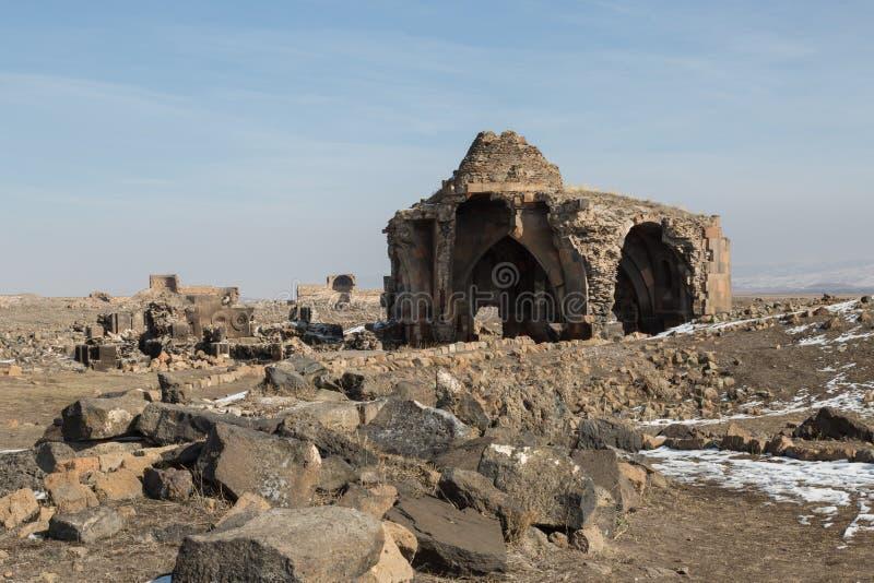 Church ruins in Ani, Turkey. Ruins of a church in the ancient Armenian capital of Ani in northeastern Turkey stock photo