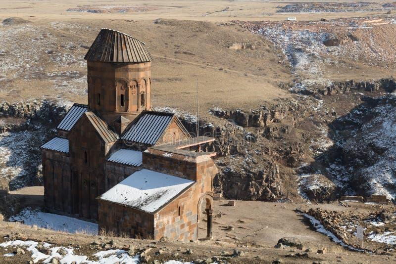 Church ruins in Ani, Turkey. Ruins of a church in the anicent Armenian capital of Ani in northeastern Turkey stock photo