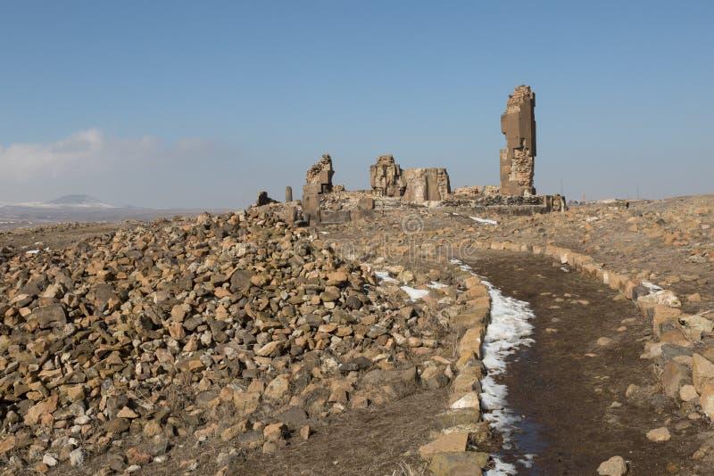 Church ruins in Ani, Turkey. Ruins of a circular church in the ancient Armenian capital of Ani in northeastern Turkey stock image