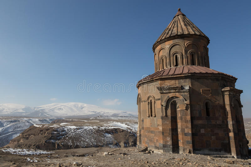 Church ruins in Ani, Turkey. Ruins of a conical roofed church in the ancient Armenian capital of Ani in northeastern Turkey royalty free stock photography