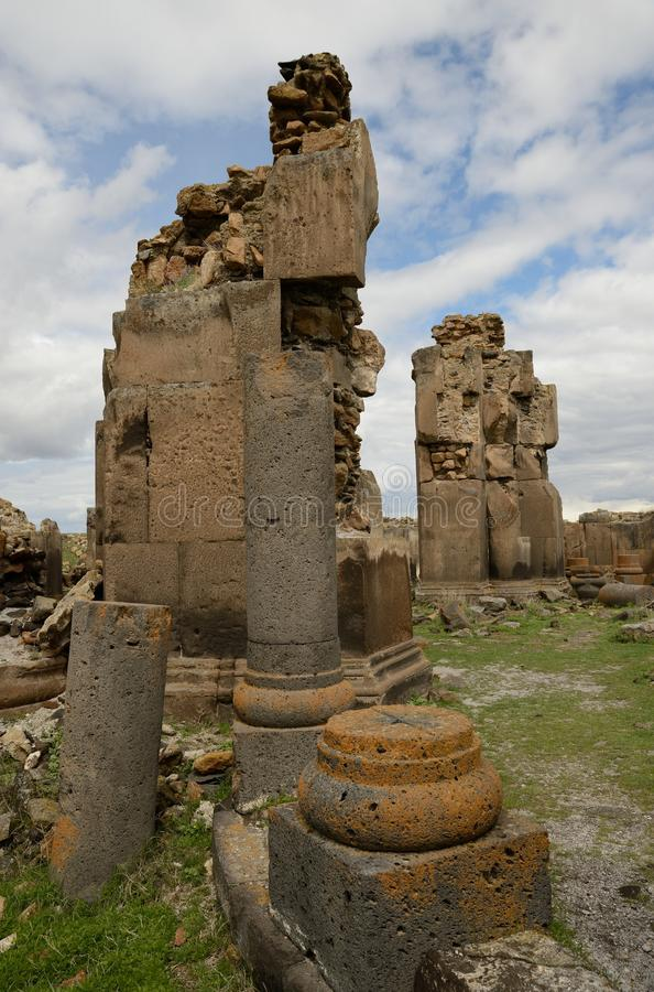 Church ruins in city of Ani, Turkey. Ruins of a St. Gregory church in the ancient armenian capital city of Ani located near Kars, Turkey royalty free stock photos