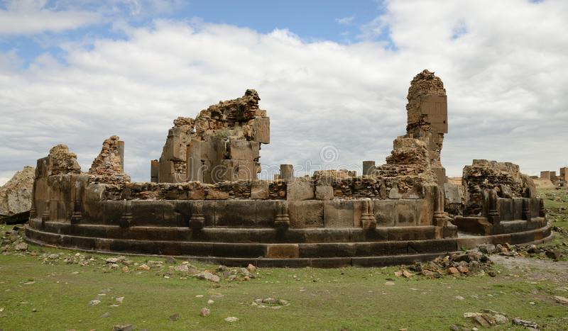 Church ruins in city of Ani, Turkey. Ruins of a St. Gregory church in the ancient armenian capital city of Ani located near Kars, Turkey stock images