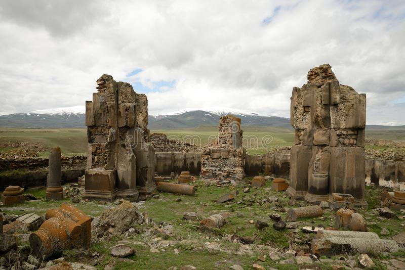 Church ruins in city of Ani, Turkey. Ruins of a St. Gregory church in the ancient armenian capital city of Ani located near Kars, Turkey stock photography