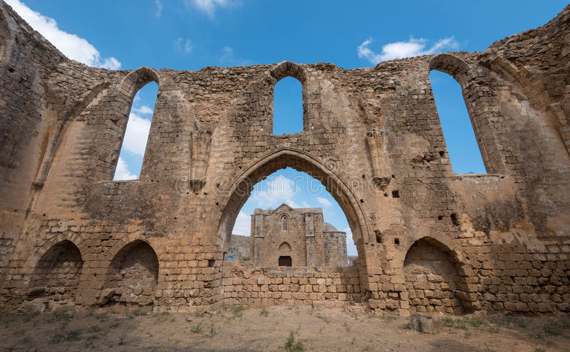 Church ruins, Famagusta Cyprus. Ruins of St Mary of the Carmelites church situated in the North West corner of Famagusta town in Cyprus royalty free stock image