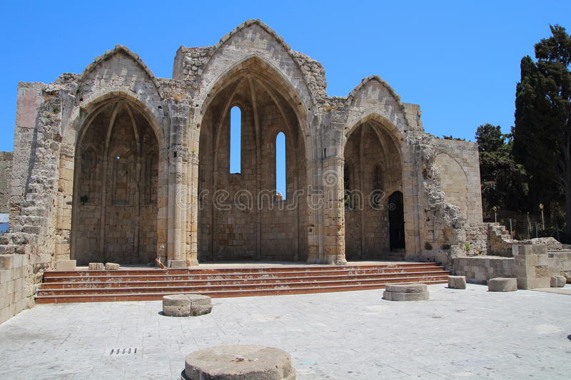 Church ruins in Old city in Rhodes, Greece stock image