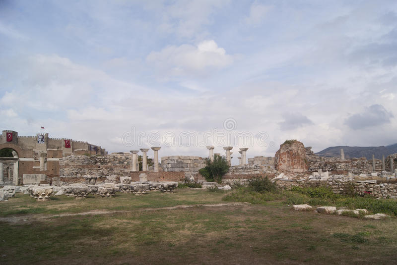 The church ruins in Turkey. The ruins of the church next to Ephesus, Turkey stock images