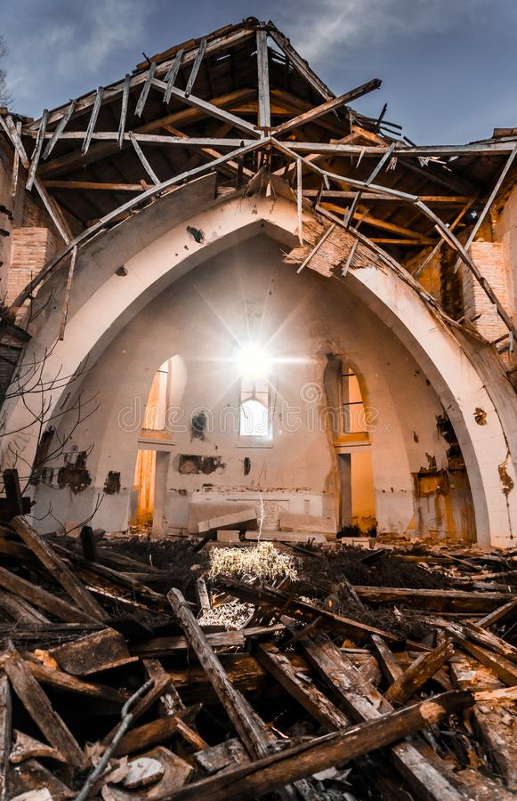 Church in ruins stock images
