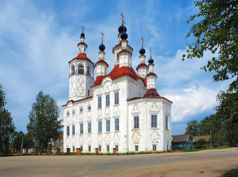 Church in russian baroque style in Totma. Church of the Entry of the Lord into Jerusalem in Totma, Vologda Region, Russia royalty free stock photography