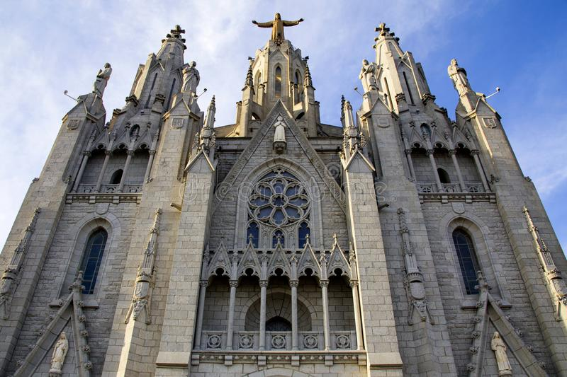 Church of the Sacred Heart of Jesus,located on the summit of Mount Tibidabo in Barcelona, Catalonia, Spain stock photo