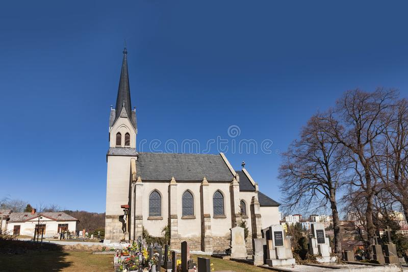 Church of the Sacred Heart of the Lord in Vimperk city, south Bohemia. Czech Republic. Kostel Nejsvetejsho Srdce Pane stock photos