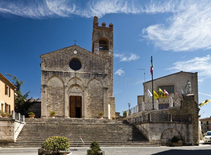The church of Saint Agatha in Asciano stock photos
