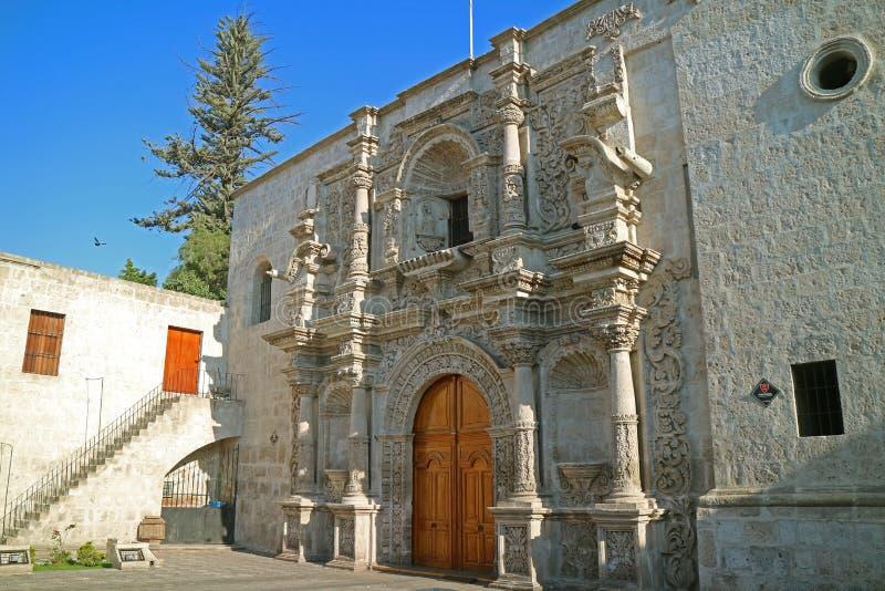 Church of Saint Augustine or Iglesia de San Agustin in Arequipa, Historical site in Peru stock image