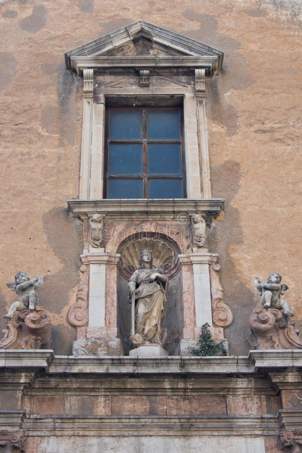 Download Church Of Saint Catherine Of Alexandria In Taormin Stock Image - Image of statue, sicily: 25067043