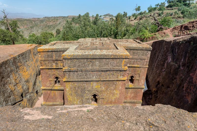 Church of Saint George, Lalibela Ethiopia. Church of Saint George rock-hewn in the shape of a cross, Bete Giyorgis, one of eleven monolithic churches in Lalibela royalty free stock photo