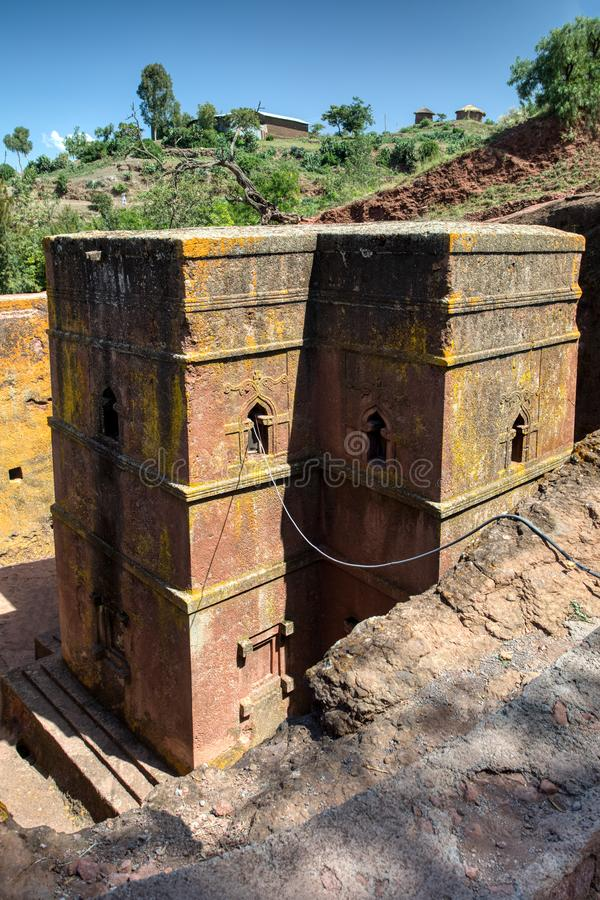 Church of Saint George, Lalibela Ethiopia. Church of Saint George rock-hewn in the shape of a cross, Bete Giyorgis, one of eleven monolithic churches in Lalibela royalty free stock images