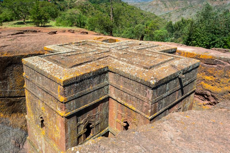 Church of Saint George, Lalibela Ethiopia. Church of Saint George rock-hewn in the shape of a cross, Bete Giyorgis, one of eleven monolithic churches in Lalibela stock photography