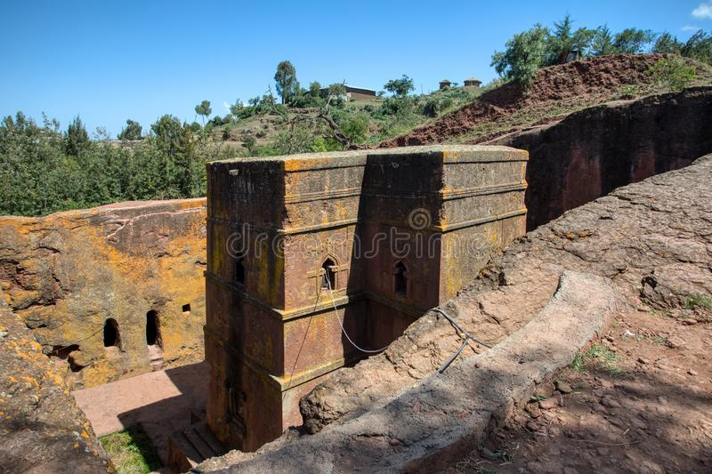 Church of Saint George, Lalibela Ethiopia. Church of Saint George rock-hewn in the shape of a cross, Bete Giyorgis, one of eleven monolithic churches in Lalibela stock photo