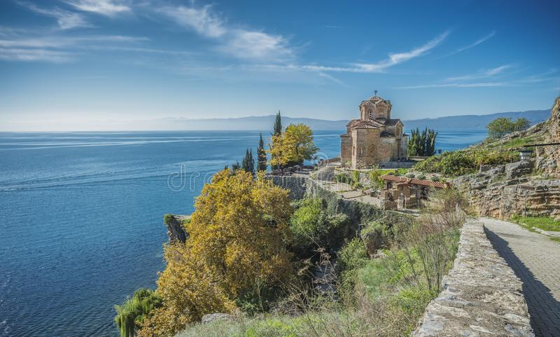 Church of Saint John at Kaneo Ohrid. This is the one of the most significant landmarks in Ohrid city. Saint John at Kaneo is a Macedonian Orthodox church stock images