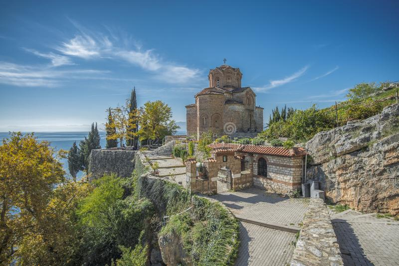 Church of Saint John at Kaneo Ohrid. This is the one of the most significant landmarks in Ohrid city. Saint John at Kaneo is a Macedonian Orthodox church royalty free stock image