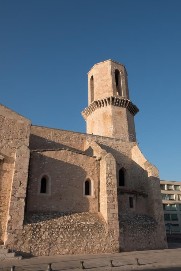 Church Saint Laurent from 12th century in Marseille, France. Church Saint Laurent, Marseille, France. Church St Laurent is parish of fishermen and people of sea royalty free stock photos