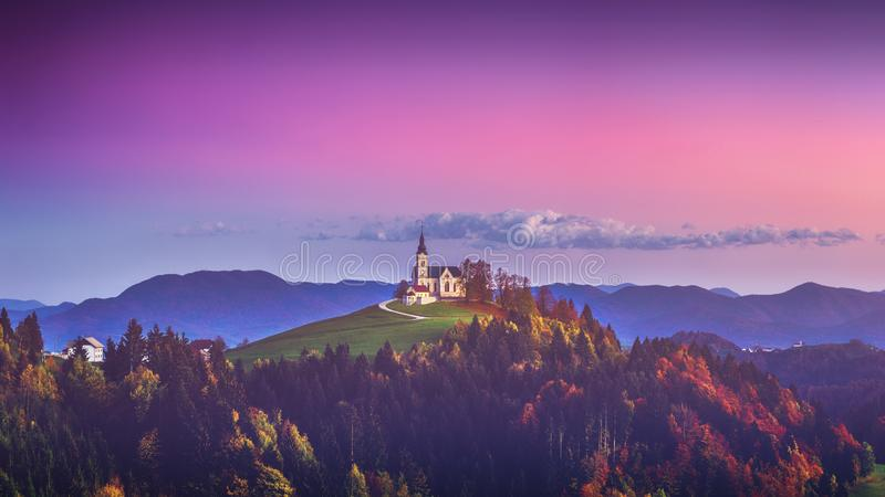 Church of Saint Leonard stands on the Church Hill near the Crni Vrh village royalty free stock image