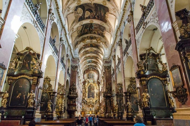 Church of Saint Ludmila in Prague stock image