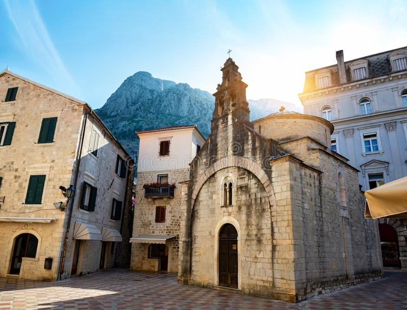 Church of saint Luke. In the old town of Kotor stock photos