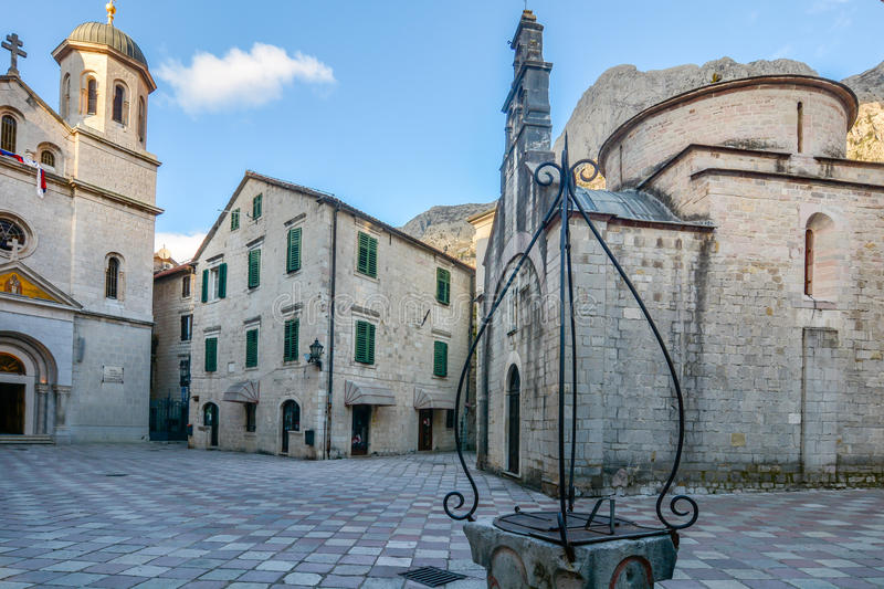 Church of Saint Luke and the square in Kotor. Montenegro royalty free stock images