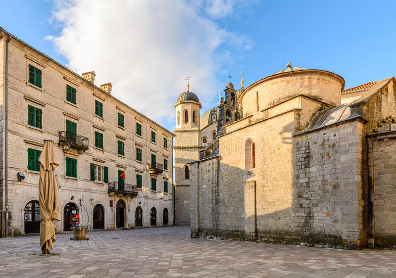 Church of Saint Luke and the square in Kotor. Montenegro stock image