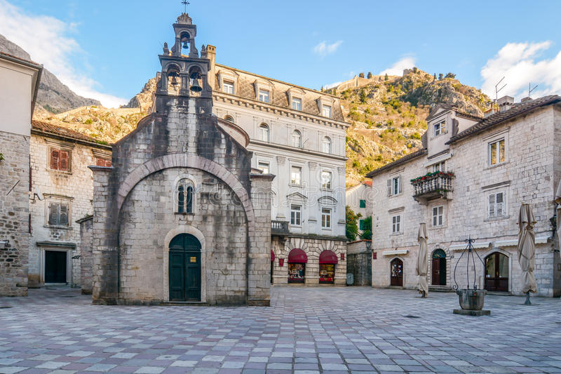 Church of Saint Luke and the square in Kotor. Montenegro royalty free stock photos