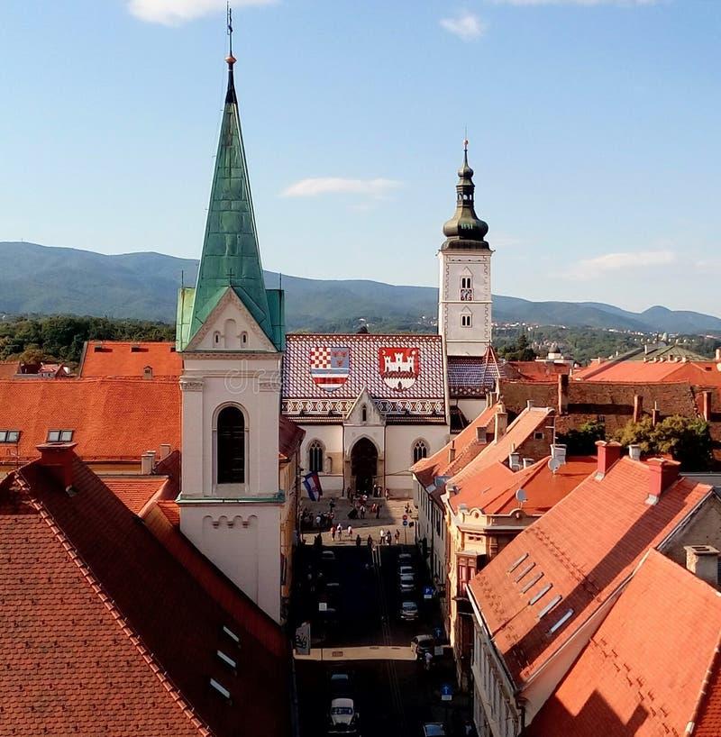 Church of saint marc - Zagreb, Croatia. Church of saint marc, from the Lotrscak tower - Zagreb, Croatia royalty free stock image
