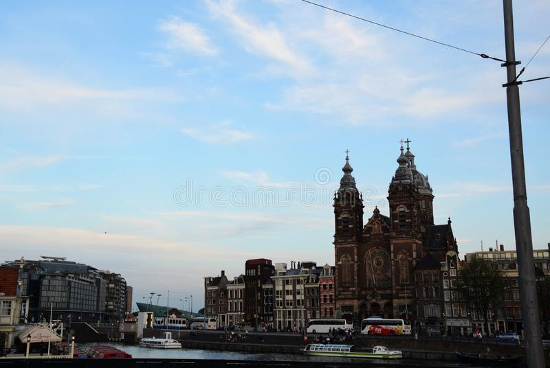 Church of Saint Nicholas - Basiliek van de Heilige Nicolaas on Prins Hendrikkade in Amsterdam, Holland, Netherlands stock photo