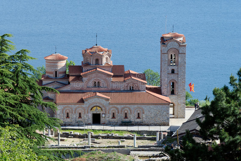 Church of saint Panteleimon. Famous tourist destination in Ohrid, Macedonia - the church of saint Panteleimon with lake Ohrid in background stock photos
