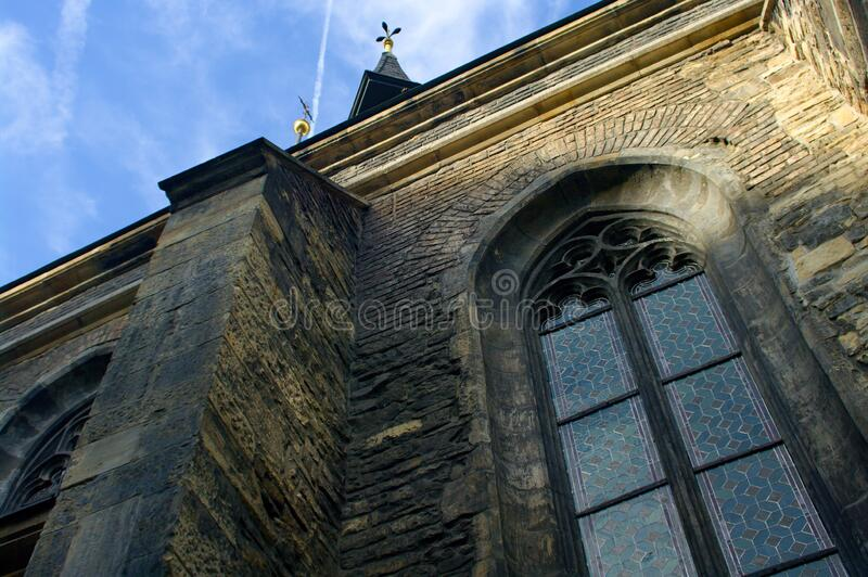 Church saint Peter in Prague, bottom view royalty free stock photo