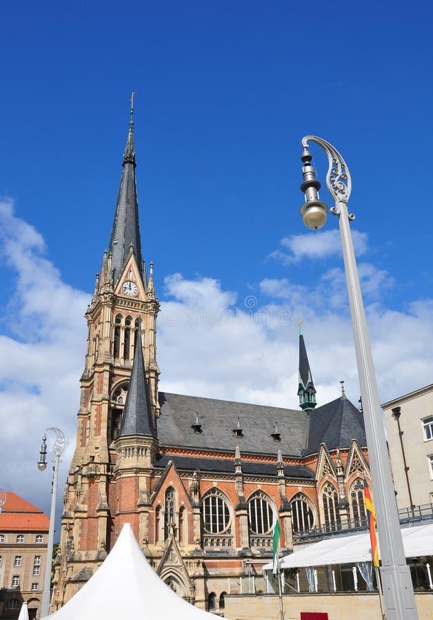 Church Saint Petri in Chemnitz, Germany. Colorful and crisp image of church Saint Petri in Chemnitz, Germany stock image