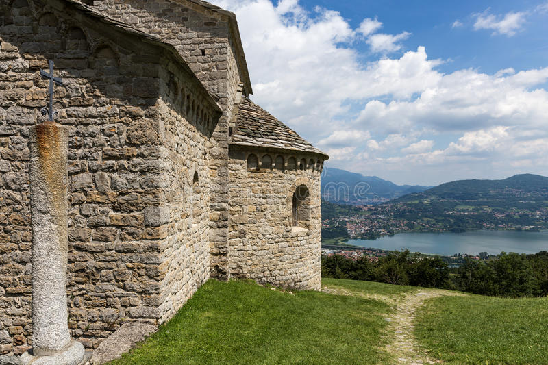 Church of Saint Pierre in Civate Lecco Italy. Beautiful view of Annone lake from Saint Pierre church in Civate Lecco Italy royalty free stock image