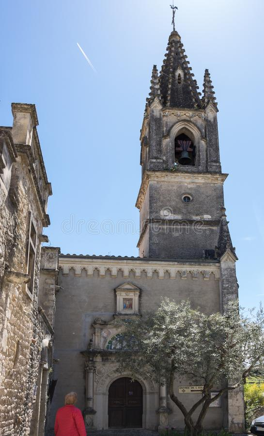 The Church of Saint-Roch. In the village of Aigueze, a small village located south of France in the department of Gard of the french region Languedoc-Roussillon royalty free stock photos