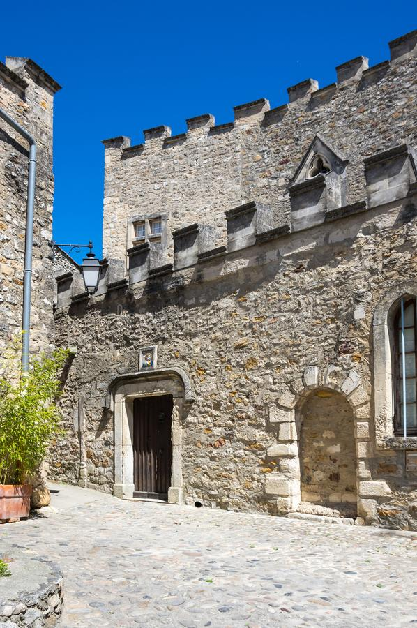 The Church of Saint-Roch. In the village of Aigueze, a small village located south of France in the department of Gard of the french region Languedoc-Roussillon stock photo