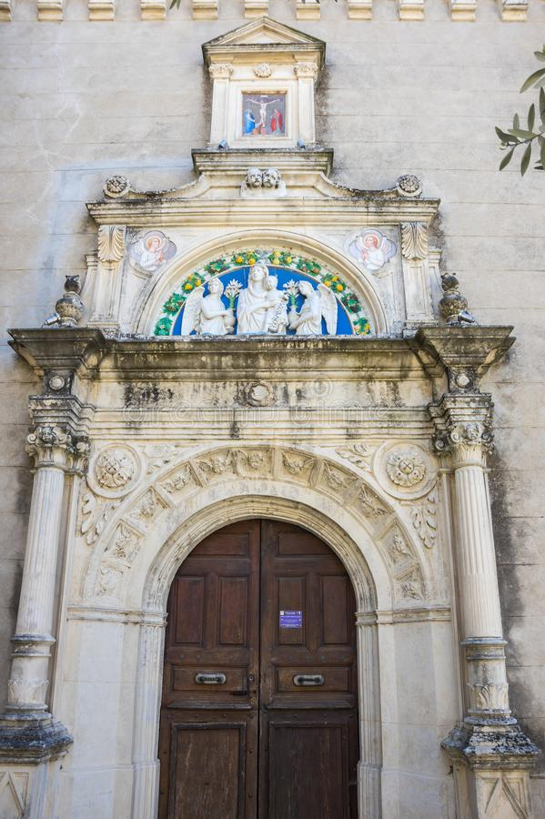 The Church of Saint-Roch. In the village of Aigueze, a small village located south of France in the department of Gard of the french region Languedoc-Roussillon stock images