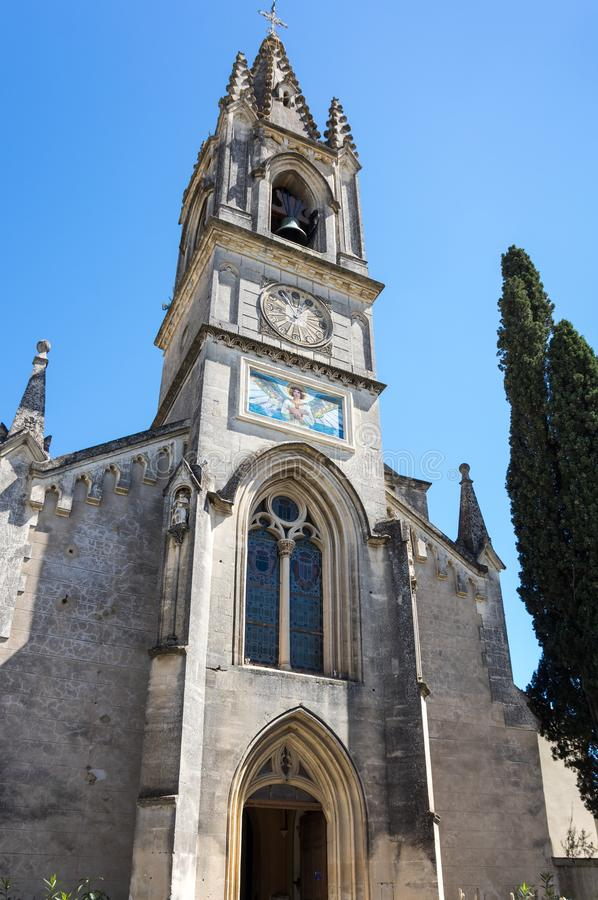 The Church of Saint-Roch. In the village of Aigueze, a small village located south of France in the department of Gard of the french region Languedoc-Roussillon stock photos