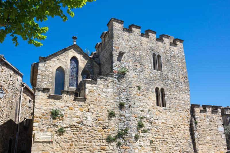 The Church of Saint-Roch. In the village of Aigueze, a small village located south of France in the department of Gard of the french region Languedoc-Roussillon stock image