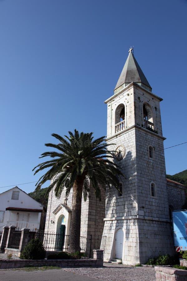 Church of Saint Roch in Donja Lastva, Montenegro. Catholic Church of Saint Roch, on June 08, 2012, in Donja Lastva, Montenegro stock image
