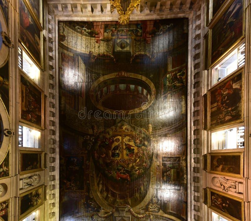 Church of Saint Roch - Lisbon, Portugal. Lisbon, Portugal - November 25, 2016: Ornate ceiling of the Church of Saint Roch or Igreja de Sao Roque in Lisbon royalty free stock photos
