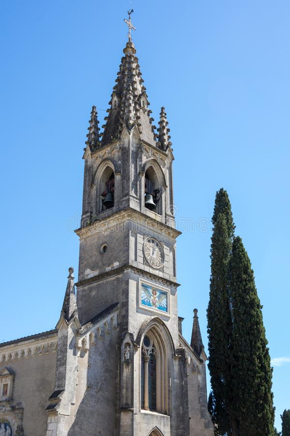 The Church of Saint-Roch. In the village of Aigueze, a small village located south of France in the department of Gard of the french region Languedoc-Roussillon stock photography